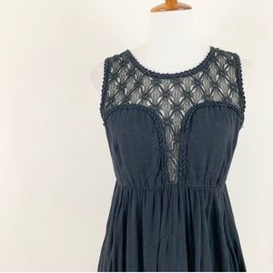 Free People Black Crochet Top Skater Dress